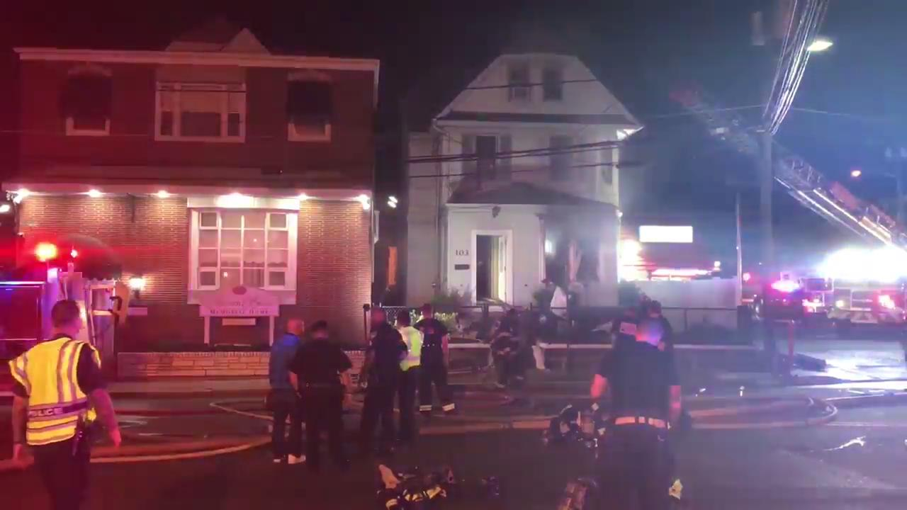Firefighters from five towns battled a blaze in Belleville on Friday, May 26, 2017. Two pets and a couple living upstairs were home at the time. They all escaped uninjured.