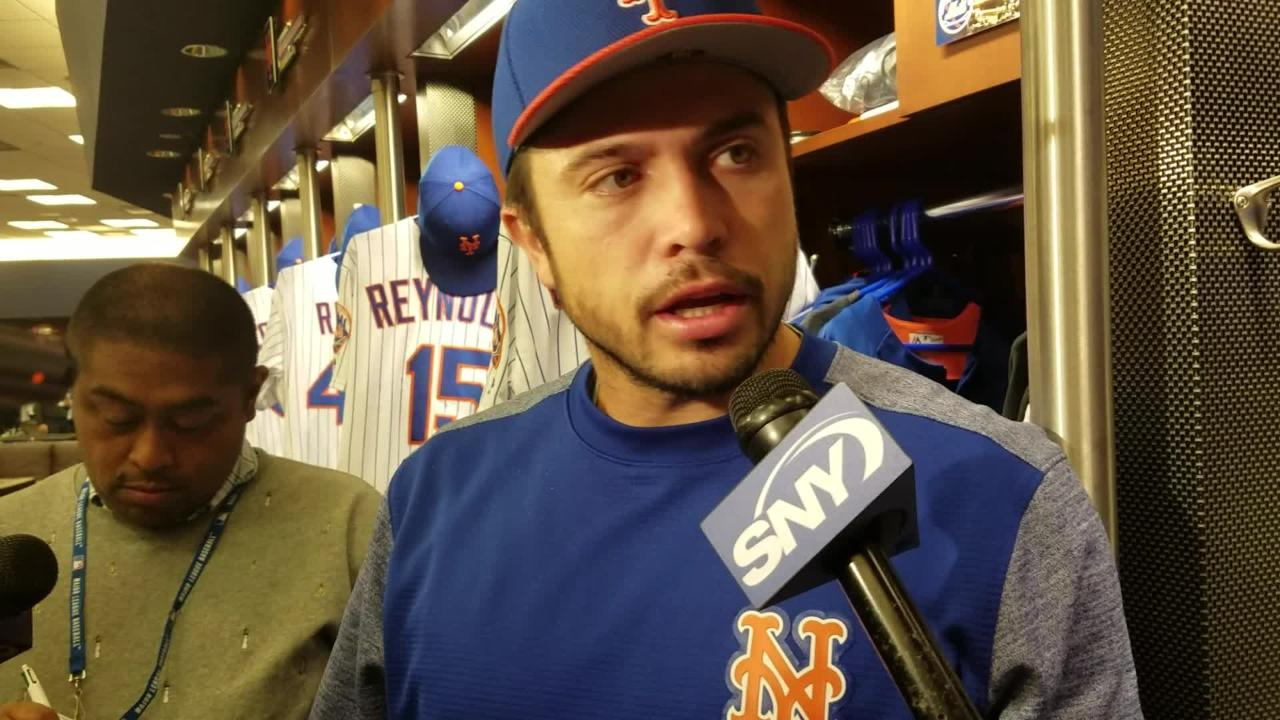 Mets catcher Travis d'Arnaud discusses his return to the Mets on Wednesday, May 24.