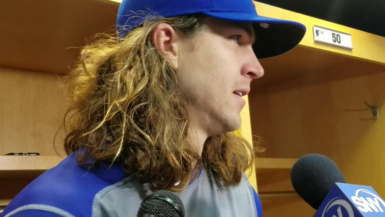 Mets starter Jacob deGrom discusses the win against the Pirates on Friday, May 27 in Pittsburgh.