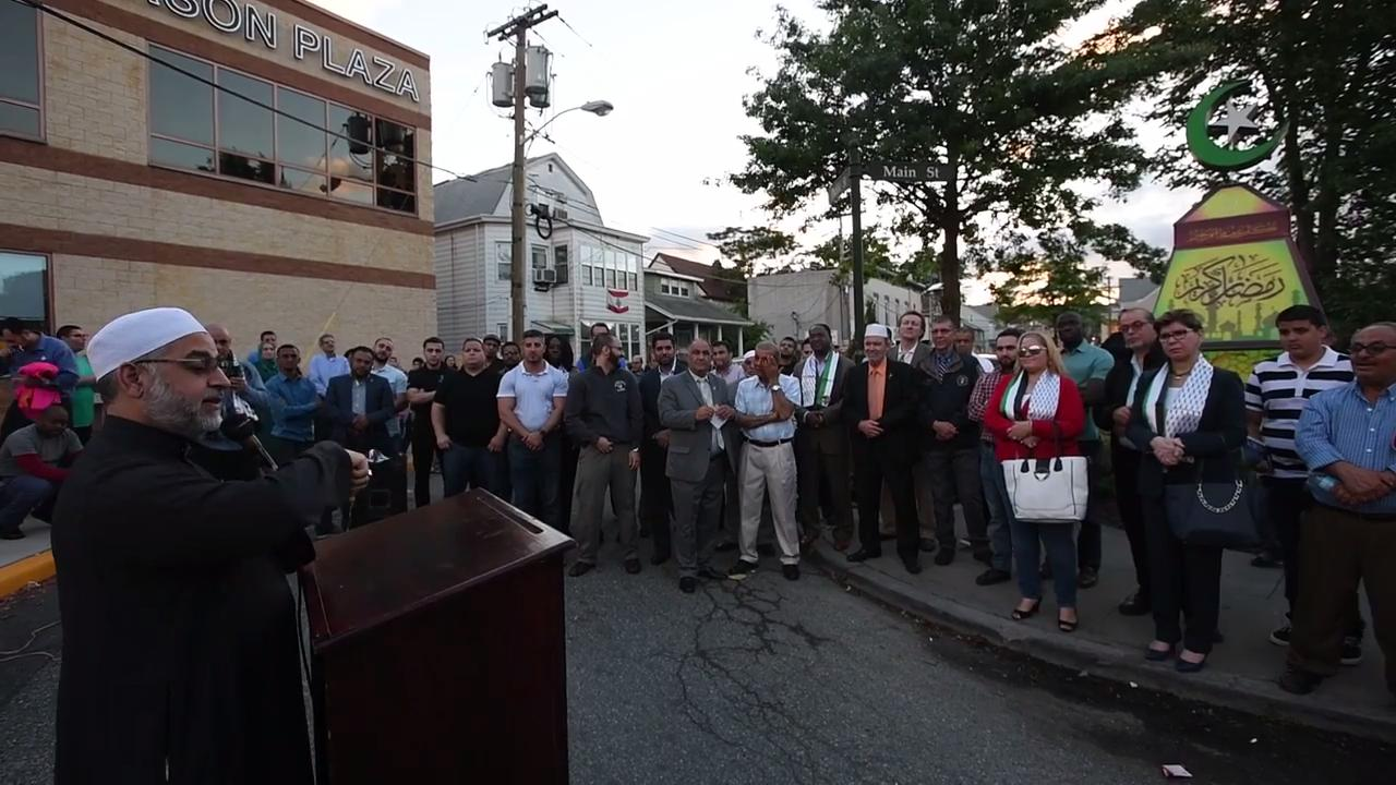 Local leaders and members of Paterson's Muslim community hold a fanoos lighting ceremony to usher in the holy month of Ramadan in a small park at the corner of Main Street and Gould Avenue.