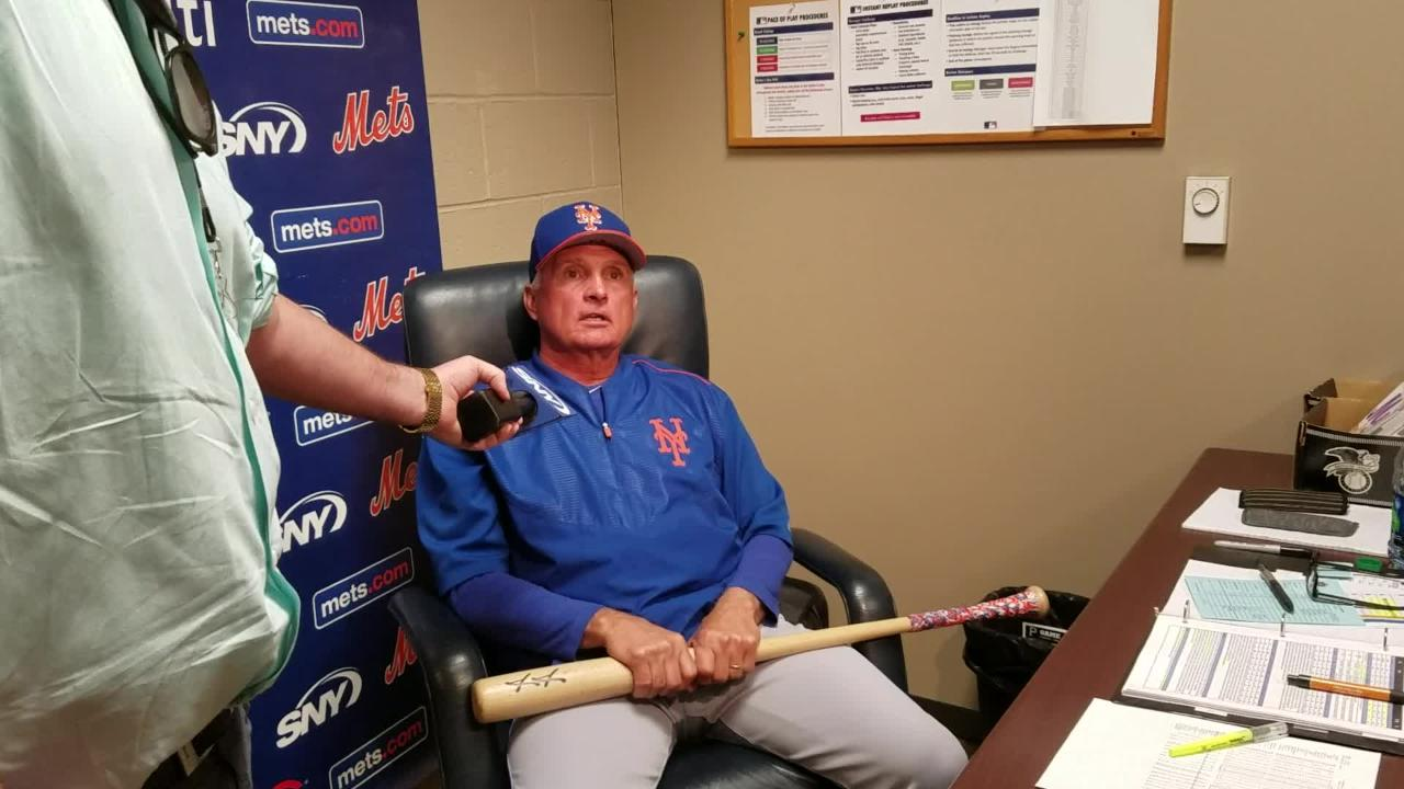 Manager Terry Collins talks before Saturday's game against Pittsburgh