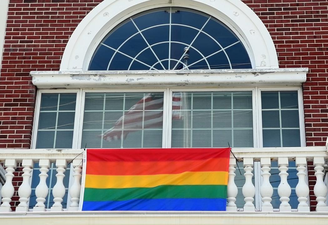 e248125547d Video  Westwood hangs LGBT Pride flag