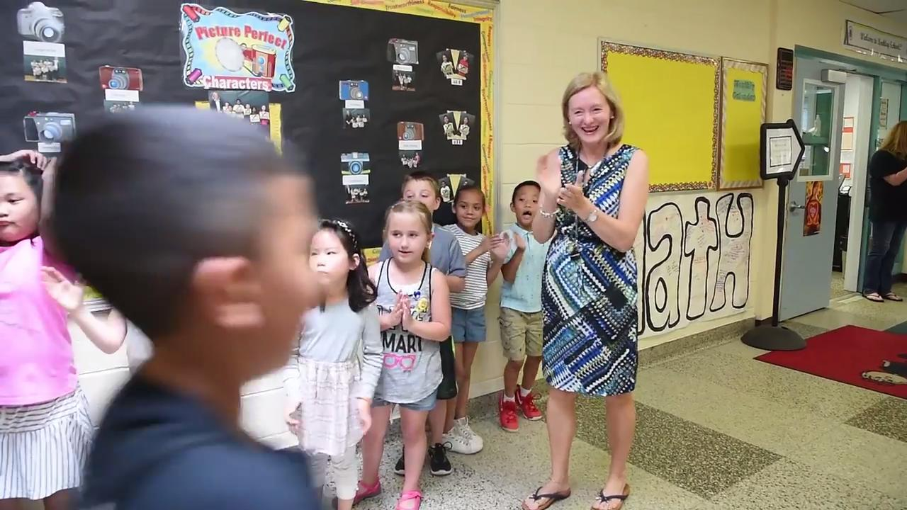 Principal Aufiero says good-bye to parents and students for the last time on Wednesday, June 21, 2017 after working at Berkley Street School in New Milford for twenty-five years.