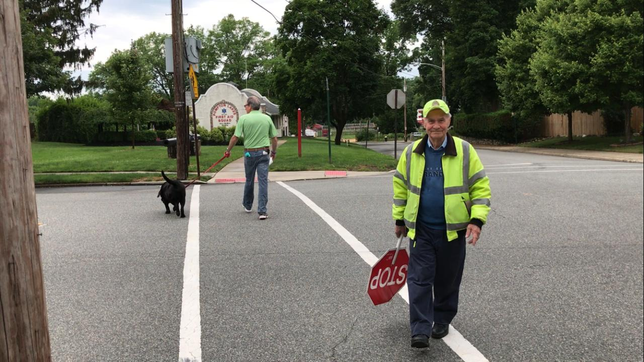 90-year-old Pompton Lakes crossing guard Stanley Sukiennik, who is retiring after 20 years, at his post on Ramapo Ave. near Hershfield Park.