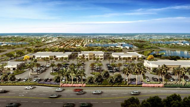 Progress continues on Stock Plaza, a commercial development that eventually will have five buildings on the northwest corner of Collier Boulevard and Grand Lely Drive at the entrance to Stock Development's Lely Resort residential communities.