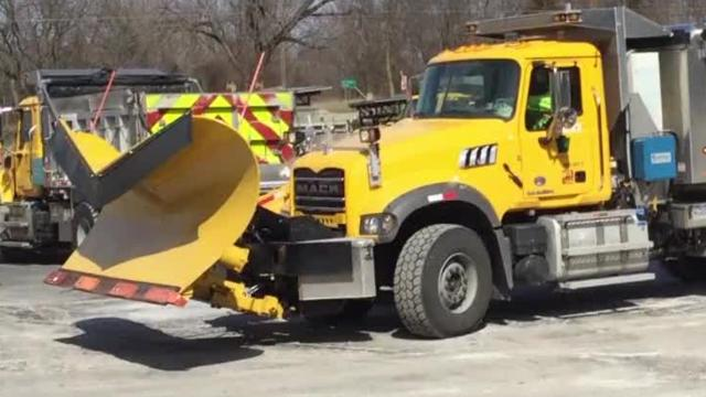 PennDOT plow trucks at the Marion garage get ready on Monday, March 13, 2017 for Winter Storm Stella.