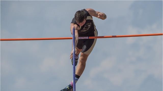 Gettysburg's Edny Celius competes in the long jump