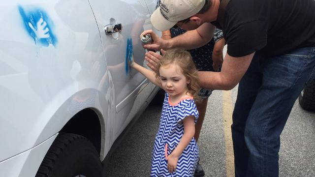 Misha Walker, Peru, is driving from Baltimore to Las Vegas meeting with families with children who have Arthrogryposis Multiplex Congenita to create awareness and inspire hope. Walker stopped by Hanover to visit unstoppable 4-year-old Alaina Crone.