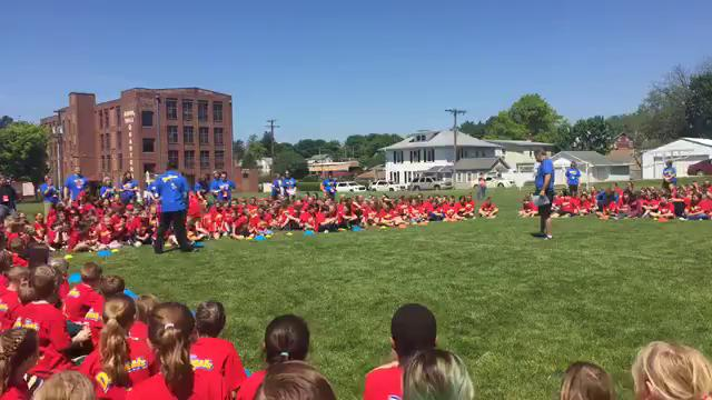 Former Philadelphia Eagles running back Brian Westbrook was at Annville Elementary for their field day.