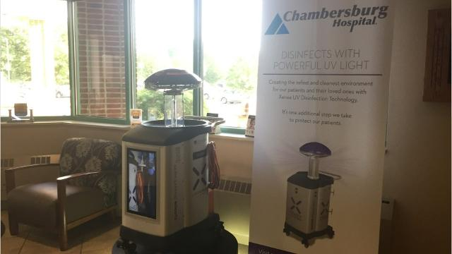 The 3 robots at Chambersburg Hospital will disinfect each space its tasked with cleaning in about 10-15 minutes, obliterating threats like MRSA and C difficile.