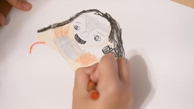 Ella Plotkin, 9, gives her review of Wonder Woman in crayon form.