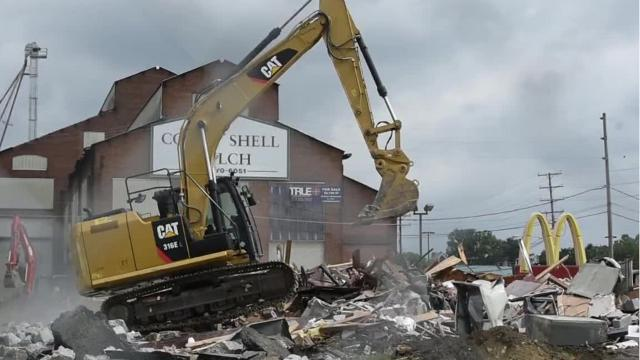 Demolition on the McDonalds at 757 E. Cumberland began Monday morning, June 19. The building was declared a total loss after a fire November 19, 2016.