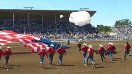Action at the 95th Red Bluff Round-Up includes bareback, saddle bronc and bull riding, steer wrestling, tie down roping and team roping on April 16, 2016.