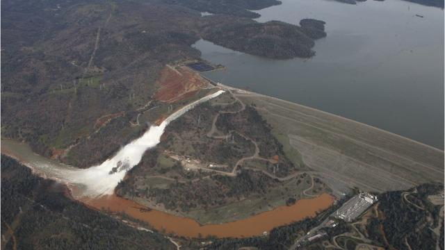Damaged spillway at Oroville Dam