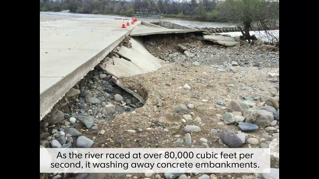 The Anderson-Cottonwood Irrigation District diversion dam in Redding was damaged by recent high flows in the Sacramento River.