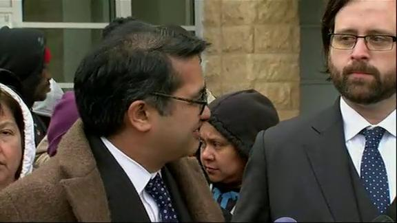 Attorneys representing refugees impacted by President Trump's travel ban spoke outside a Maryland courthouse. A judge says he will make a ruling in the case, but was not clear whether it will be before the rule takes effect on Thursday. (March 15)