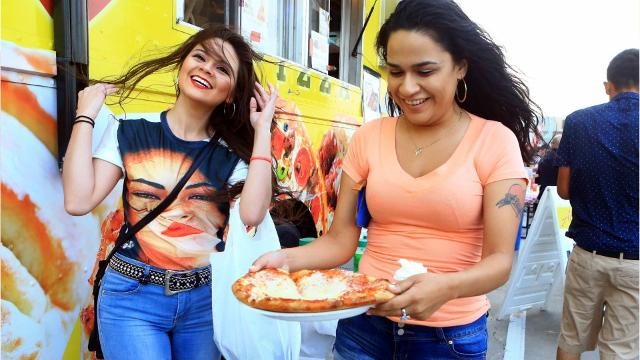 Concertgoers choose from the many food trucks available during Fiesta de la Flor.