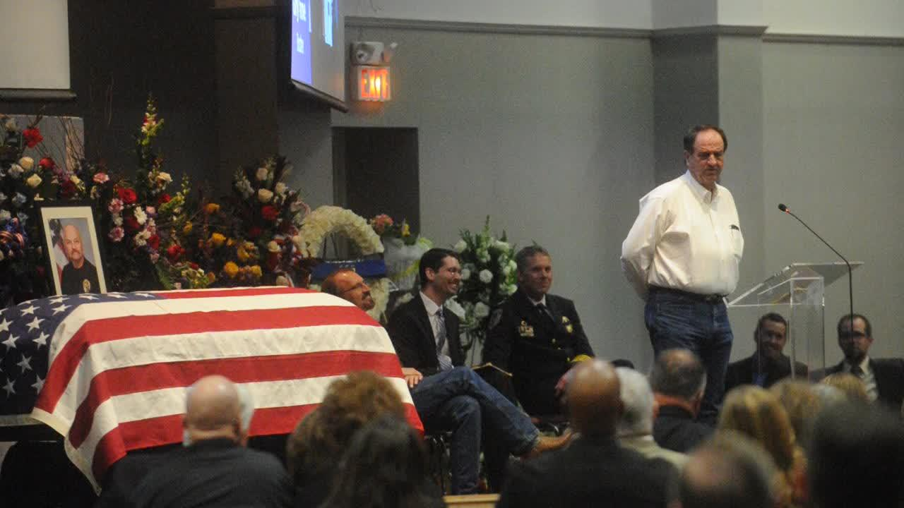 "Funeral services for police officer David Varner. His brother Gary Varner tells a story about a prank ""Vern"" played on a friend, asking the friend for help disposing a body."