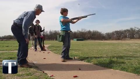 Lonnie Culley, Northwest Texas Field and Stream, teaches kids from 4-H gun safety and trap shooting.