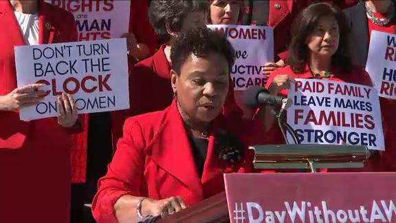 House Democrats took to the Capitol steps to stand in solidarity with women across the globe on International Women's Day. (March 8)