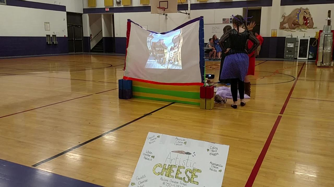 Members of Abilene Christian School's Artistic Cheese team showcase their skit for Destination Imagination Friday evening at Wylie Intermediate School.