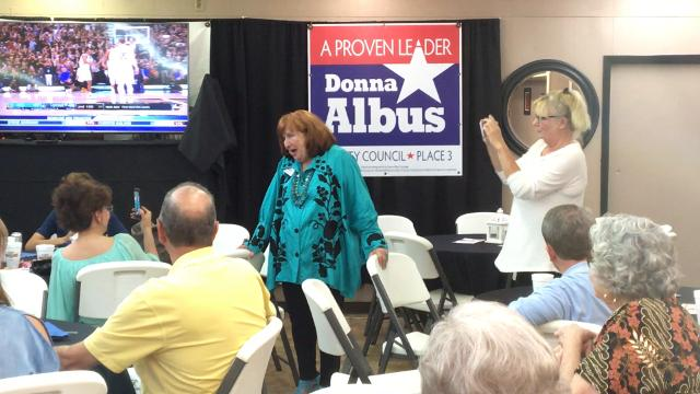 Donna Albus announces her victory to supporters in the race for City Council Place 3 on Saturday, May 6, 2017, at Sharon's BBQ & Catering.