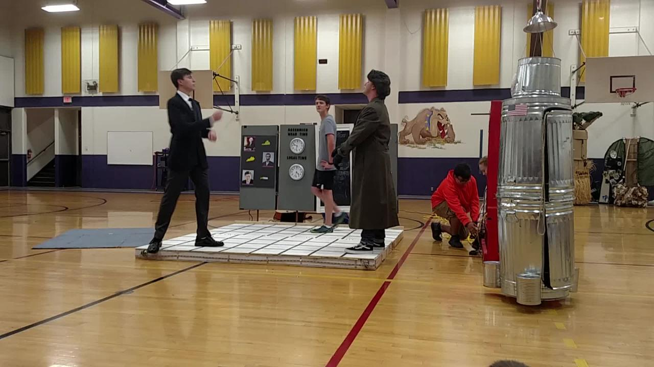 Wylie Junior High eighth-grader Wes Horn, playing Nikita Khrushchev, and Wylie High School 11th-grader Dalton Vasquez, playing John F. Kennedy, get into a rap battle about the space race of the 1950s and 60s.