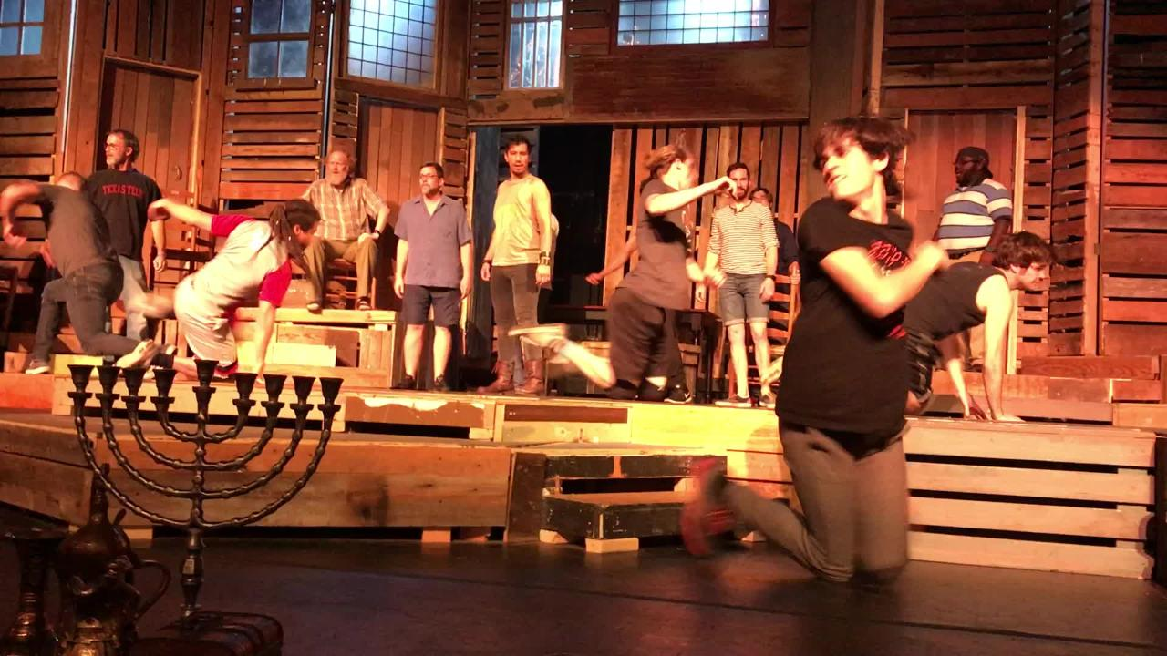 "Cast members of the Paramount Theatre production of ""Fiddler on the Roof"" rehearse part of the dance sequence associated with the song, ""To Life"" that will be performed when it hits the stage June 23-25"