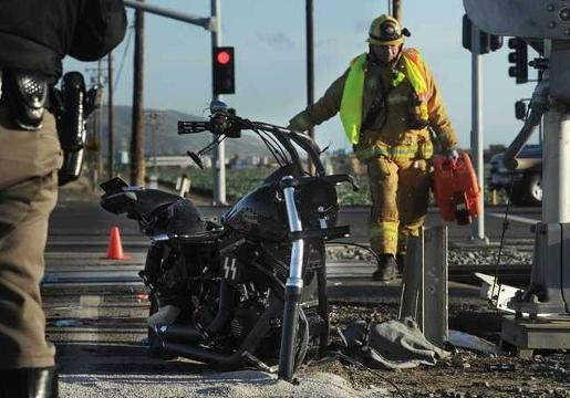 Train Motorcycle Collide