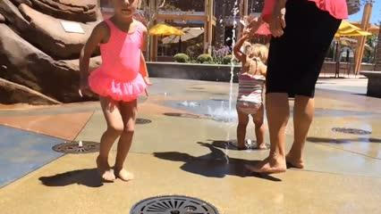 Fun on a hot day at the Janss Marketplace Fountain